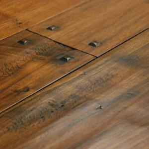 hand scraped walnut wide plank hardwood flooring with wooden pegs