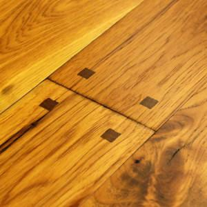 old trail hickory hardwood flooring with wood pegs and mocha accents