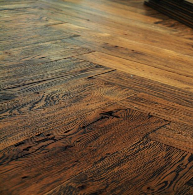 Custom Milled Reclaimed White Oak Plank Hardwood Flooring with a Herringbone Pattern