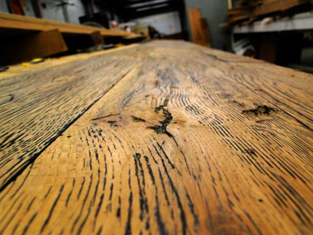 Custom Milled Reclaimed White Oak Plank in Scraping Stage