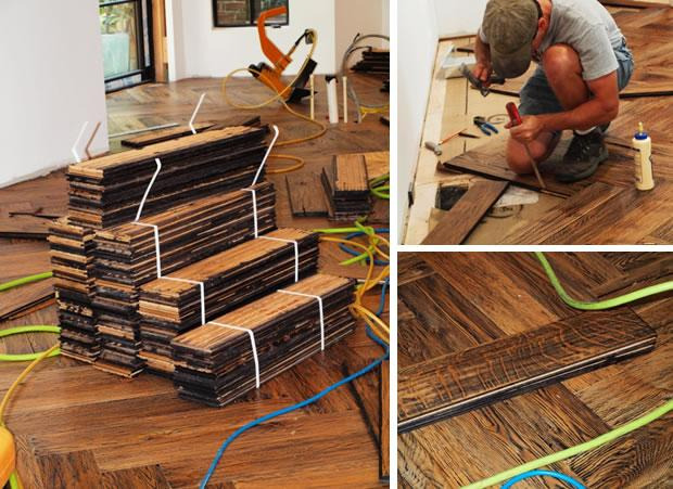 Herringbone Pattern Installation of Hardwood Flooring