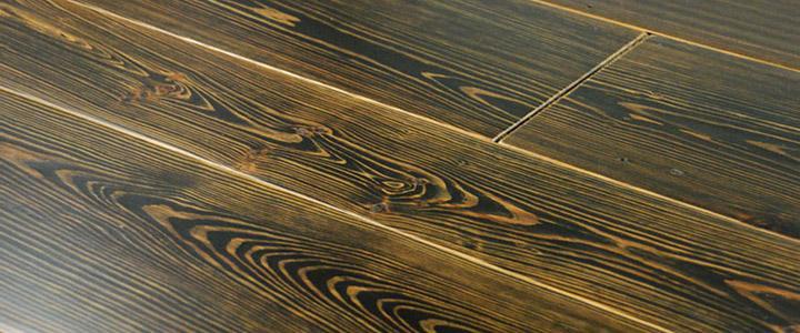 wide reclaimed heart pine black stain custom